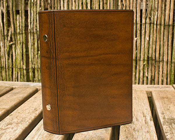 personal size brown leather 6 ring binder - organiser - planner - plain classic 2 - earthworks journals PSB002