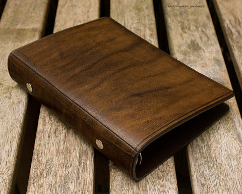 personal size dark brown leather 6 ring binder - organiser - planner - plain classic - earthworks journals PSB003