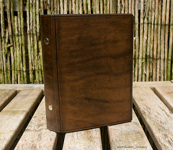 personal size dark brown leather 6 ring binder - organiser - planner - plain classic 2 - earthworks journals PSB003