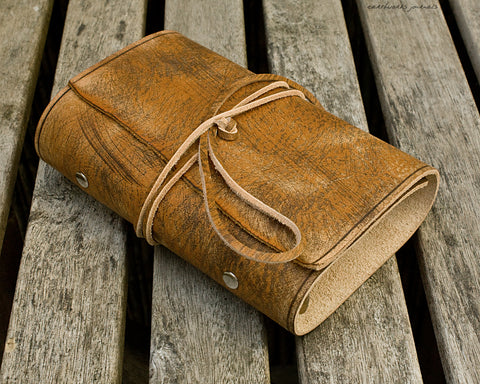 personal size distressed brown leather organiser - wraparound - earthworks journals - RTSPSWB005