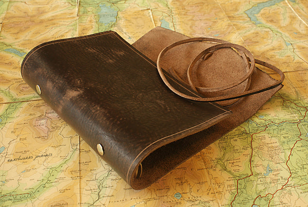 personal size distressed dark brown leather organiser - wraparound 3 - earthworks journals - PSWB001