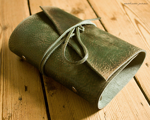 personal size distressed green leather organiser - wraparound - earthworks journals - PSWB002