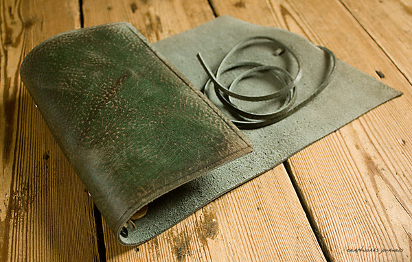 personal size distressed green leather organiser - wraparound 2 - earthworks journals - PSWB002