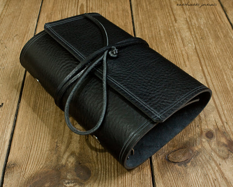 personal size rugged black leather organiser - wraparound - earthworks journals - PSWB003