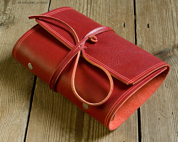 personal size rugged red leather organiser - wraparound - earthworks journals - PSWB004