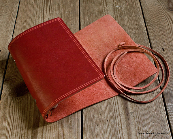 personal size rugged red leather organiser 2 - wraparound - earthworks journals - PSWB004