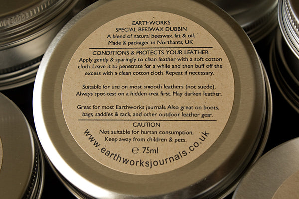 Earthworks special leather stuff 5 - natural beeswax dubbin - earthworks journals