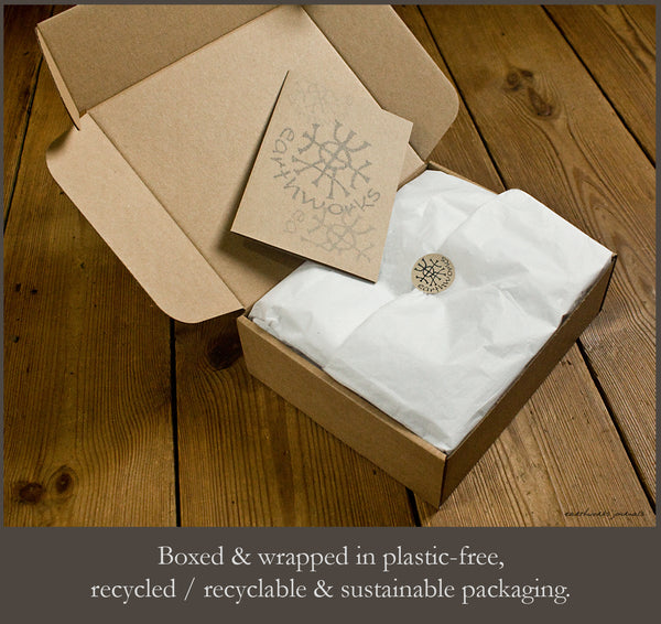Recycled sustainable packaging - plastic free - earthworks journals
