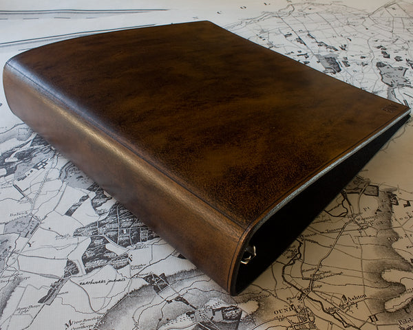 US letter size dark brown leather 3 ring binder 8.5 x 11 - plain classic - earthworks journals LSB001