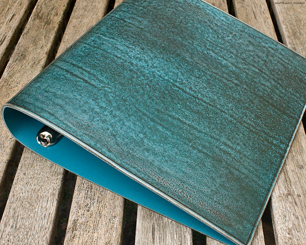 US letter size distressed sea blue leather 3 ring binder 8.5 x 11 - plain classic 2 - earthworks journals LSBC002