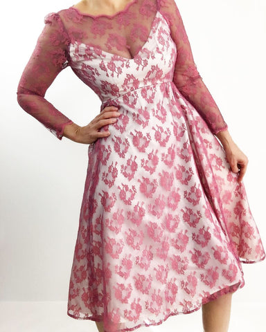 Be my Valentine Vintage Mauve Lace Satin Dress