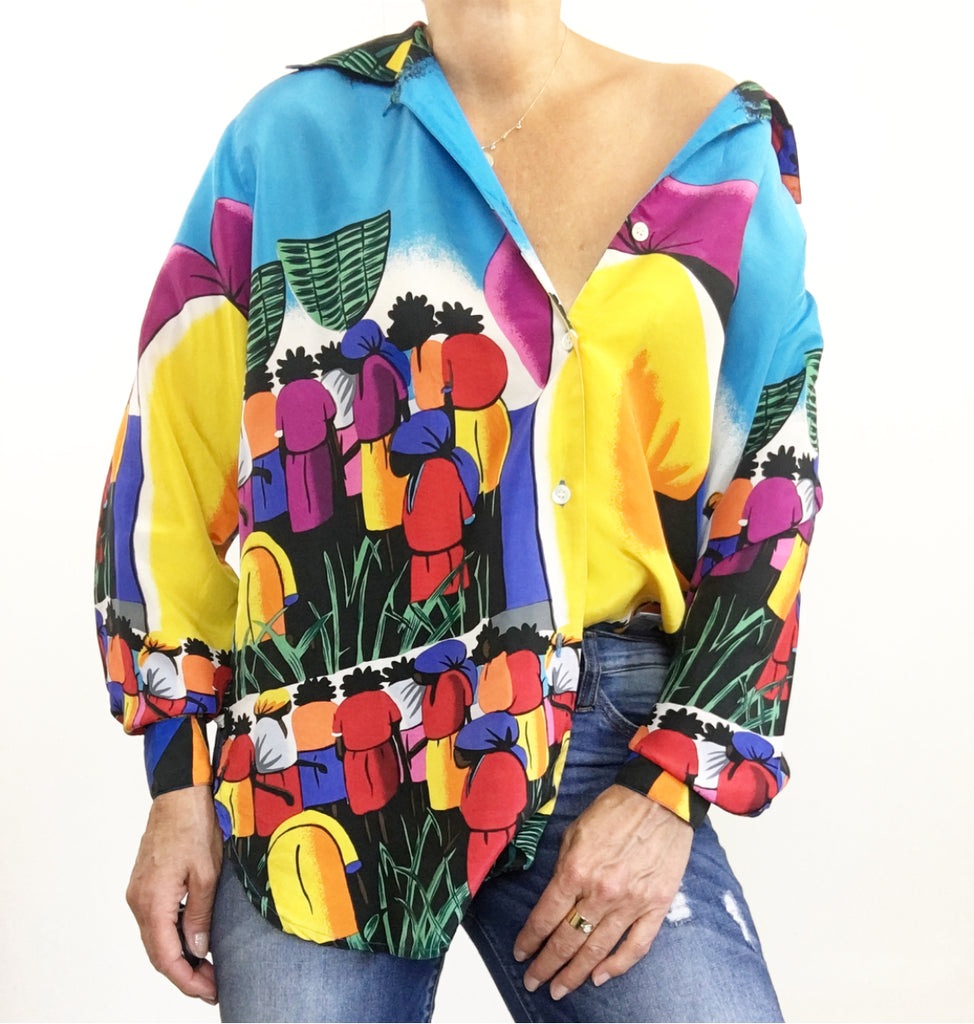 Vintage Oversized Silk Vibrant Colors Print Blouse