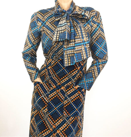 Vintage 1970's Malcom Starr Silk Velvet Dress