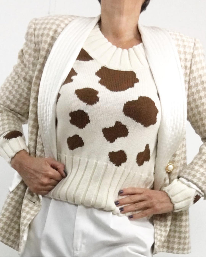 Vintage Cow Print Knit Sweater Long Sleeves