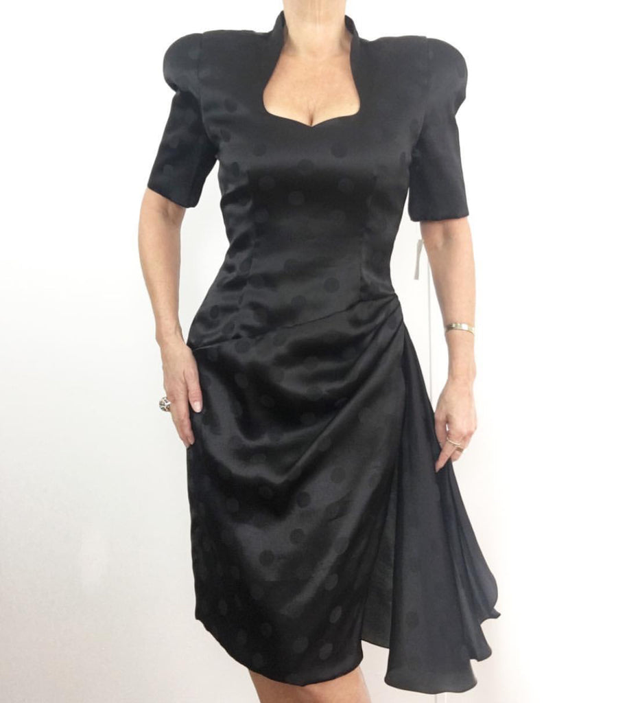 Vintage 1980' CAROLINA HERRERA Black Silk Dress - Dead Stock