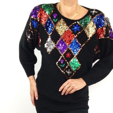 Amazing 1980's Vintage Sequined Silk Angora Sweater