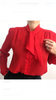 Rocking Vintage 1970's Lipstick Red Tie Blouse Semi Sheer