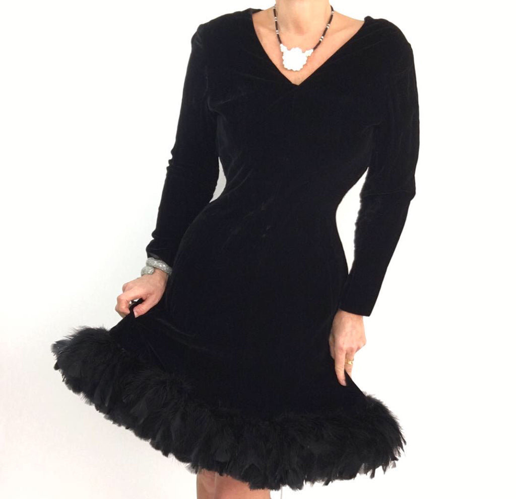 Vintage 1980's Black Velvet Cocktail Dress W/Opulent Ostrich Feather Trim