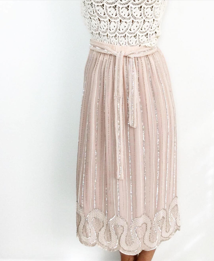 Vintage 1970's Silver Beaded Dusty Rose Silk Skirt Art Deco Style