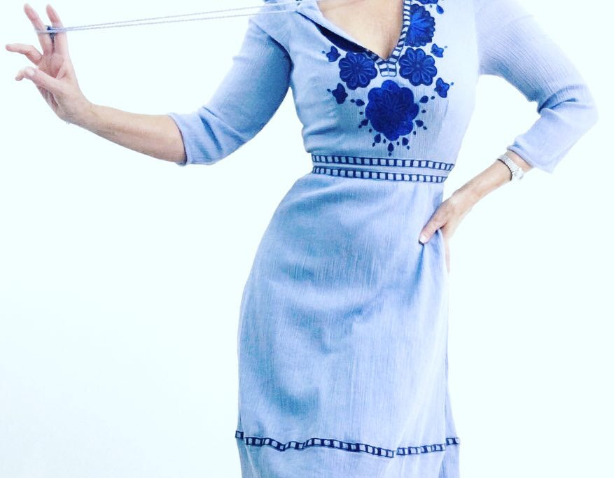 Vintage 1970's Cornflower Blue Embroidered Cheesecloth Dress