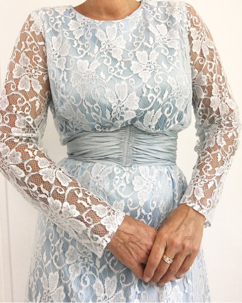 Vintage 70s Light Blue Lace Evening Dress