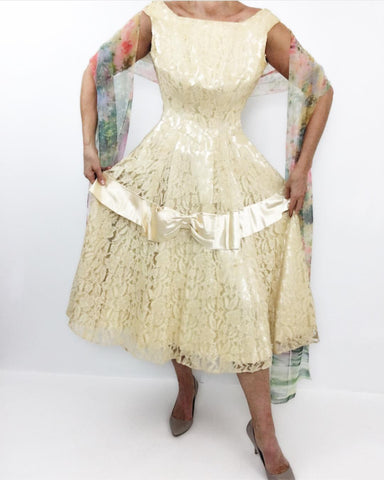 Vintage 1950's Champagne Chantilly Lace Satin Cocktail Dress