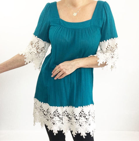 Crochet Lace Boho Tunic Dress