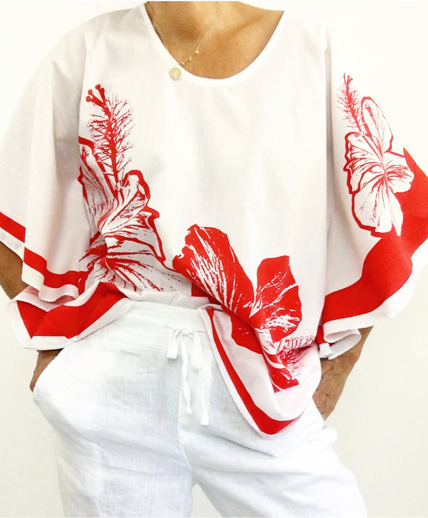Vintage Hawaiian Cotton Batwing Sleeves Blouse
