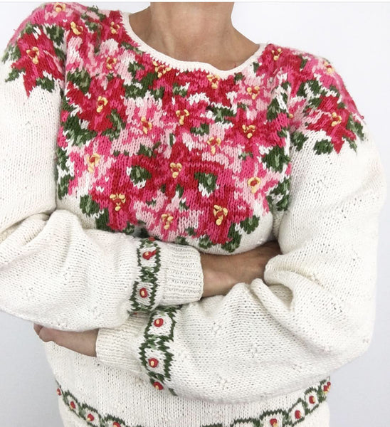 Meet Me In The Alps Vintage Handknitted Floral Sweater