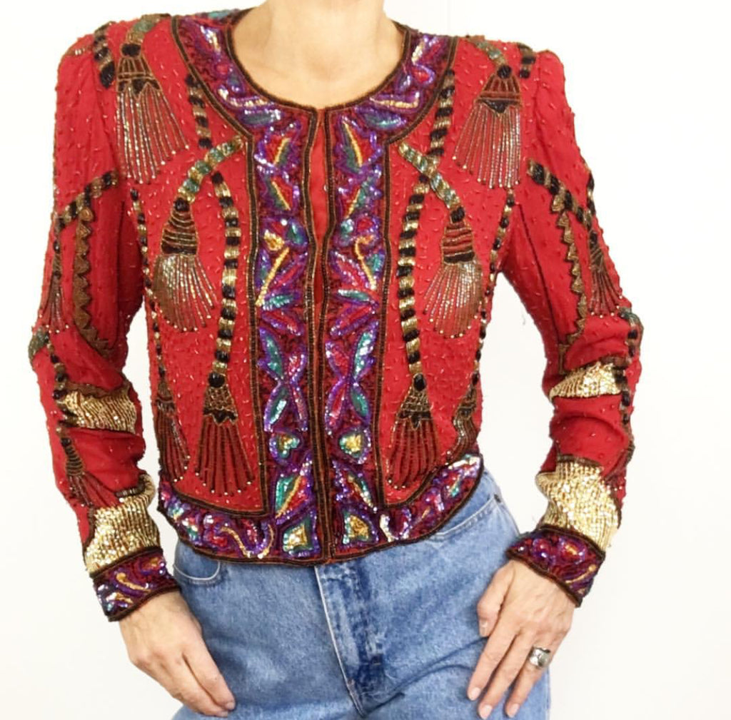 Vintage Lawrence Kazar Silk Beaded Bolero Jacket