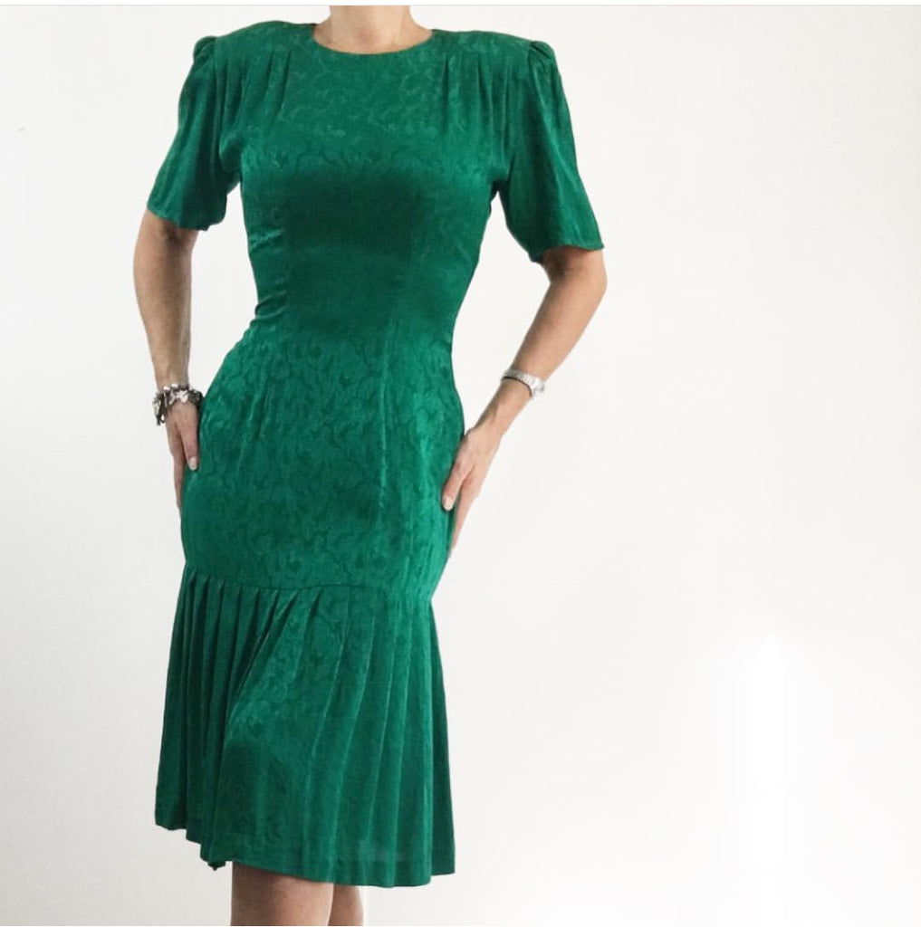 Vintage 1980's doing the 40's Emerald Green Silk Dress W/ Pleated Hemline