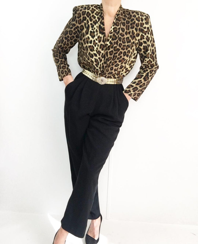 Vintage 1980's Exclusive Black Animal Print Jumpsuit
