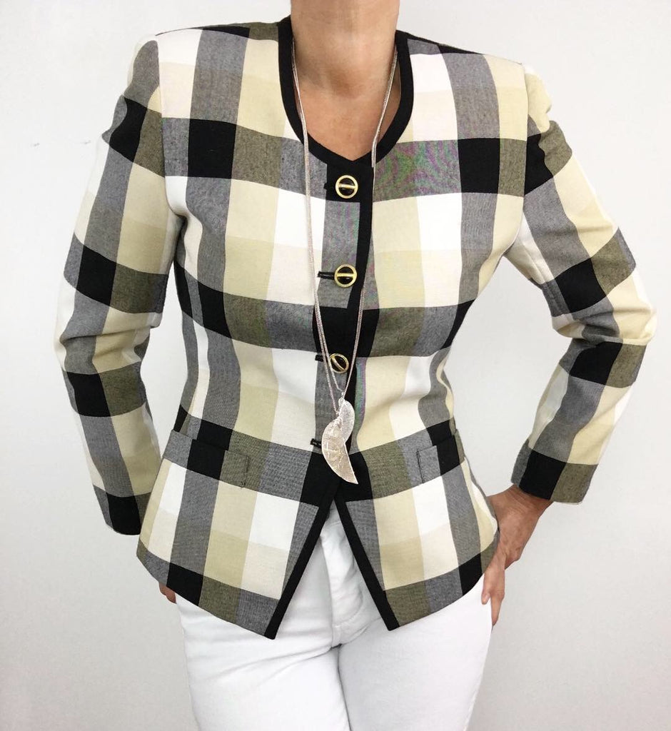 Vintage Soft Toned Checked Blazer Jacket