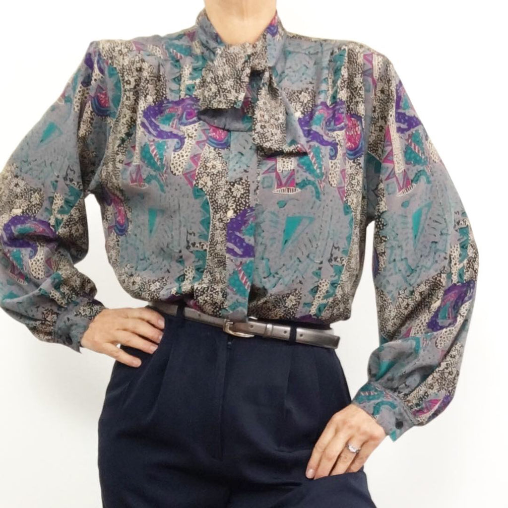 Vintage Geometrical & Floral Design Pussy Bow Blouse