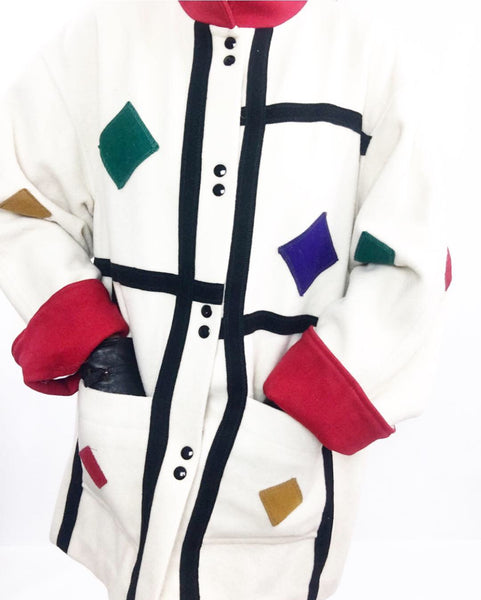 Vintage Late 60's Creme White Wool Coat W/ Colorful Appliqués
