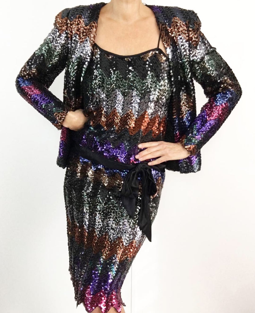 Vintage 1970's Disco Glam Sequined Drop Waist Dress W/ Matching Jacket