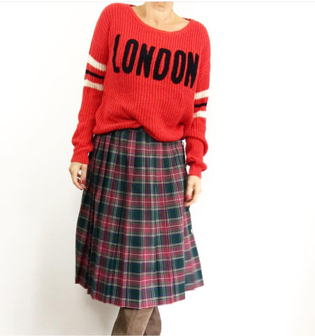 Vintage Plaid Pleated Red Green Blue Skirt