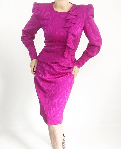 Vintage Carolina Herrera Hot Pink Silk Peplum Dress