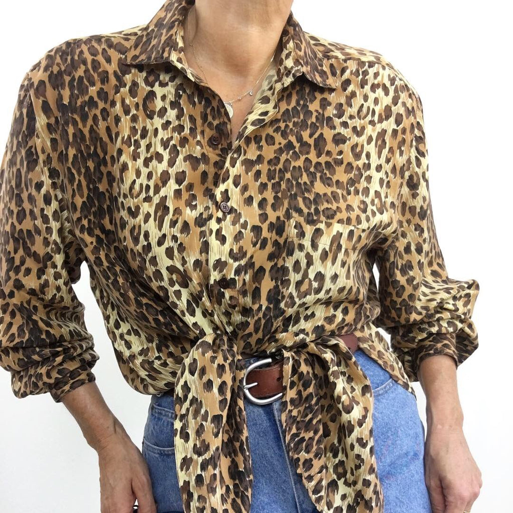 Vintage Silk Cheetah Print Blouse