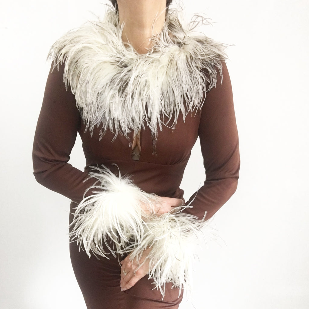 Vintage 1970's Chocolate Brown Ostrich Feather Jumpsuit