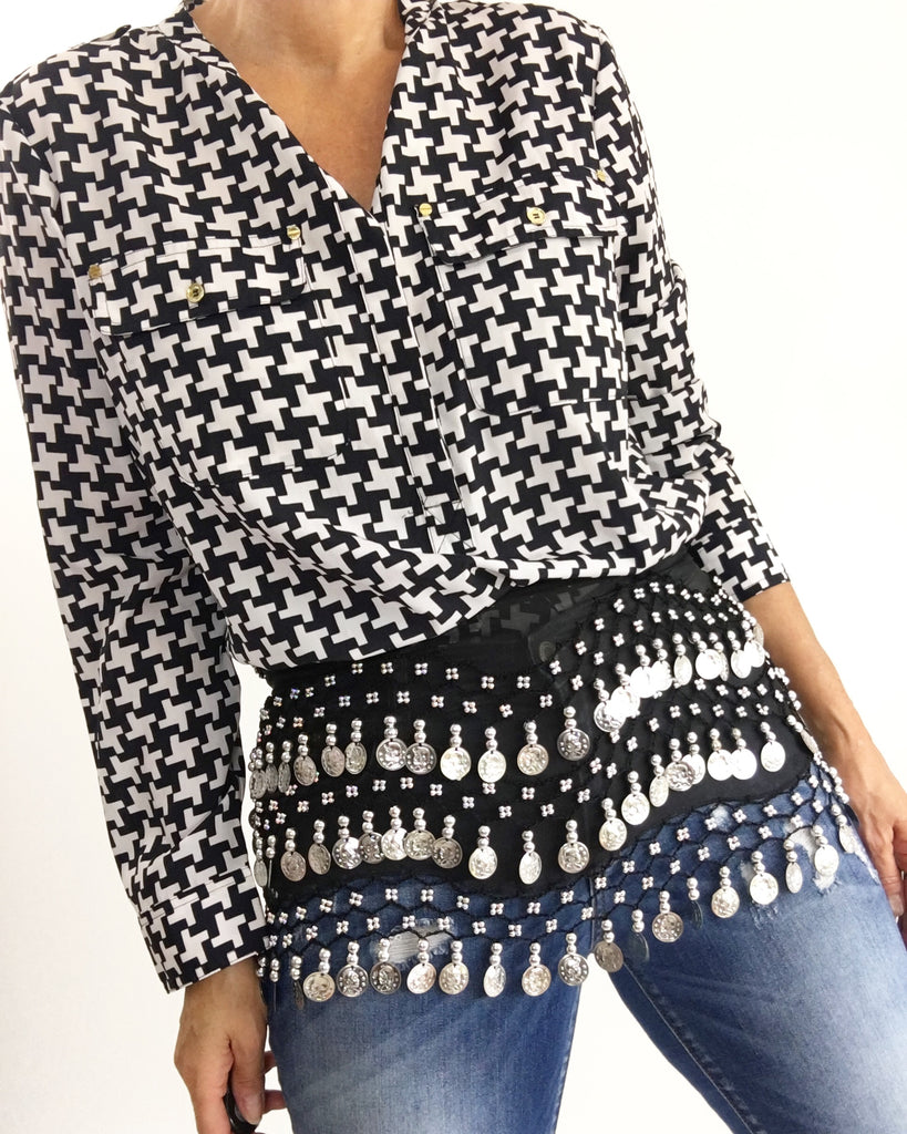 Michael Kors Houndstooth Blouse