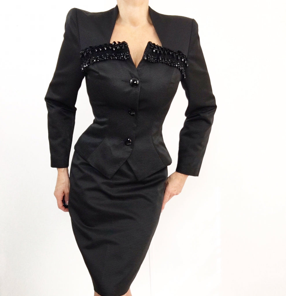 Tom & Linda Platt Vintage Black Skirt Suit 50's Style W/Teardrop Beaded Heart Neckline