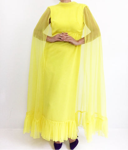 70s Lemon Yellow Goddess Maxidress W/ Chiffoncape
