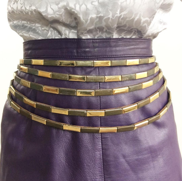 Vintage 1980's Designer Brown Tiered Leather Belt W/ Golden Tone Studs