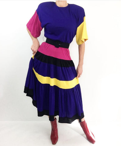 Vintage Hola, Señorita Colorblock Wool Full Swing Daydress