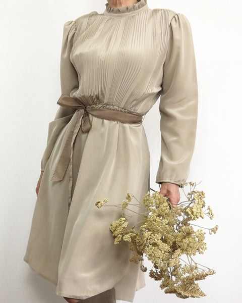 Vintage 1970's Ruffled High Neck Dress