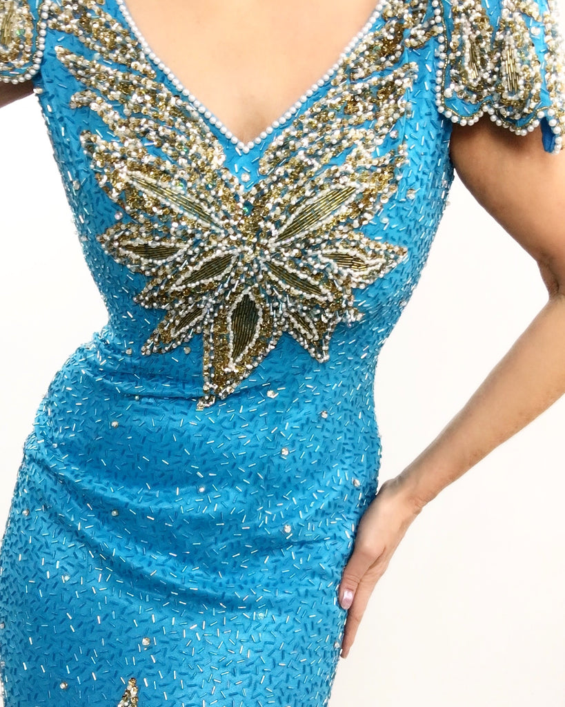 Vintage 1980's Sherri Hill Bright Blue & Gold Formal Gown with heavy beading