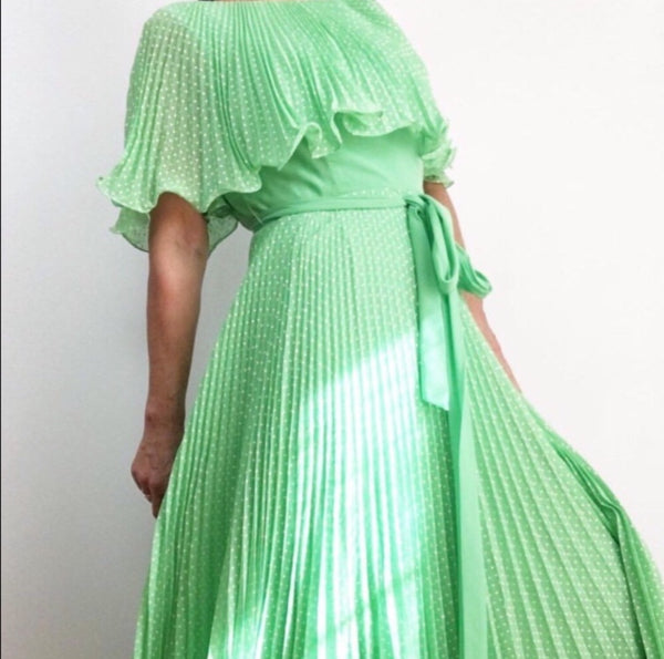 Vintage 1970's Apple green Ruffled and Pleated Maxi Dress