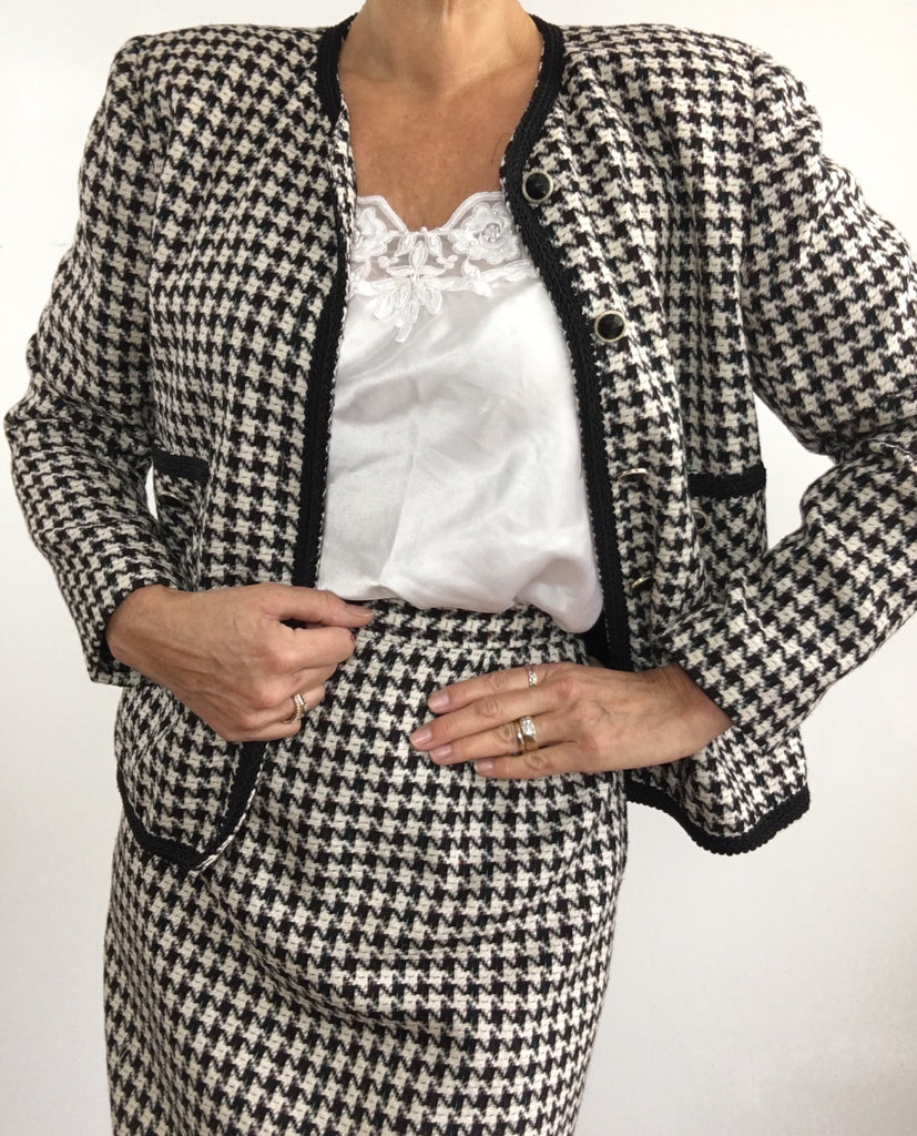 Vintage 1970's Houndstooth Wool Skirt Suit Ensemble