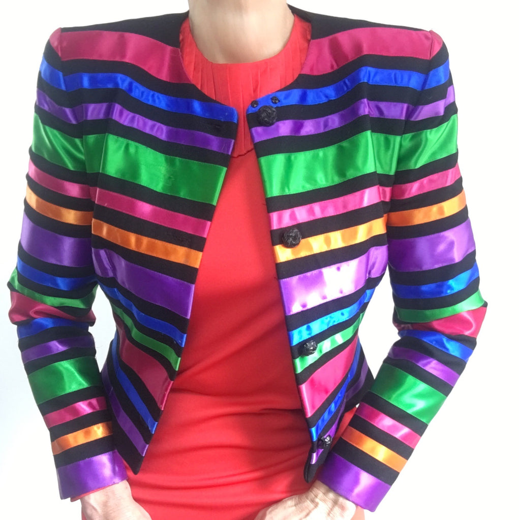 Vintage Rainbow Bolero Short Evening Jacket